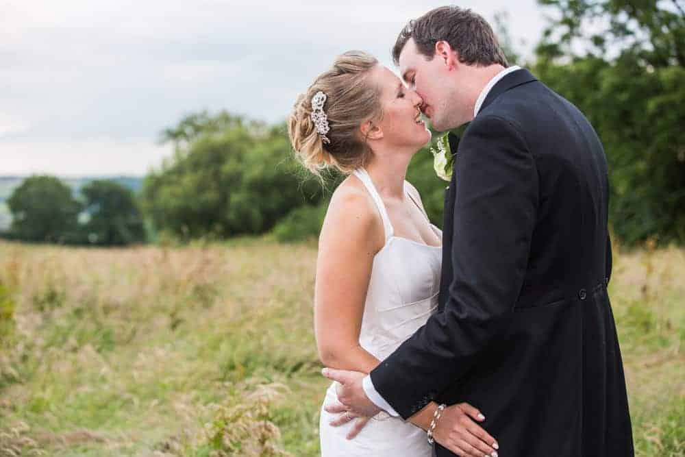 outdoor couple bride field wedding