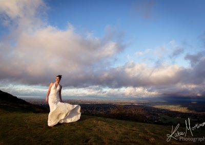 trash cherish wedding dress outdoor bride malvern hills