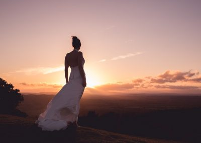 trash cherish wedding dress outdoor bride malvern hills sunset