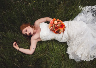 outdoor wedding bride rock chick autumnal orange photography Katie Mortimore