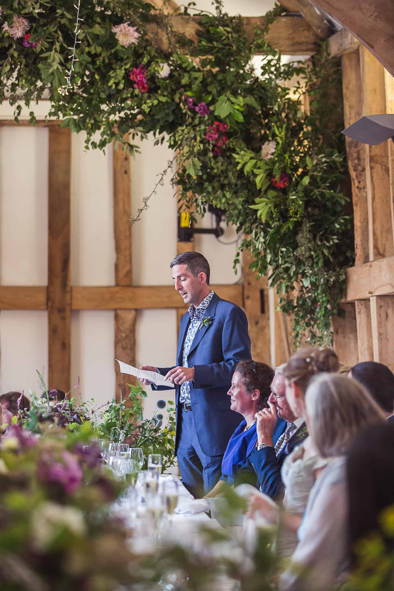 Fison Barn Wedding speeches floral arch Earth Trust wittenham clumps