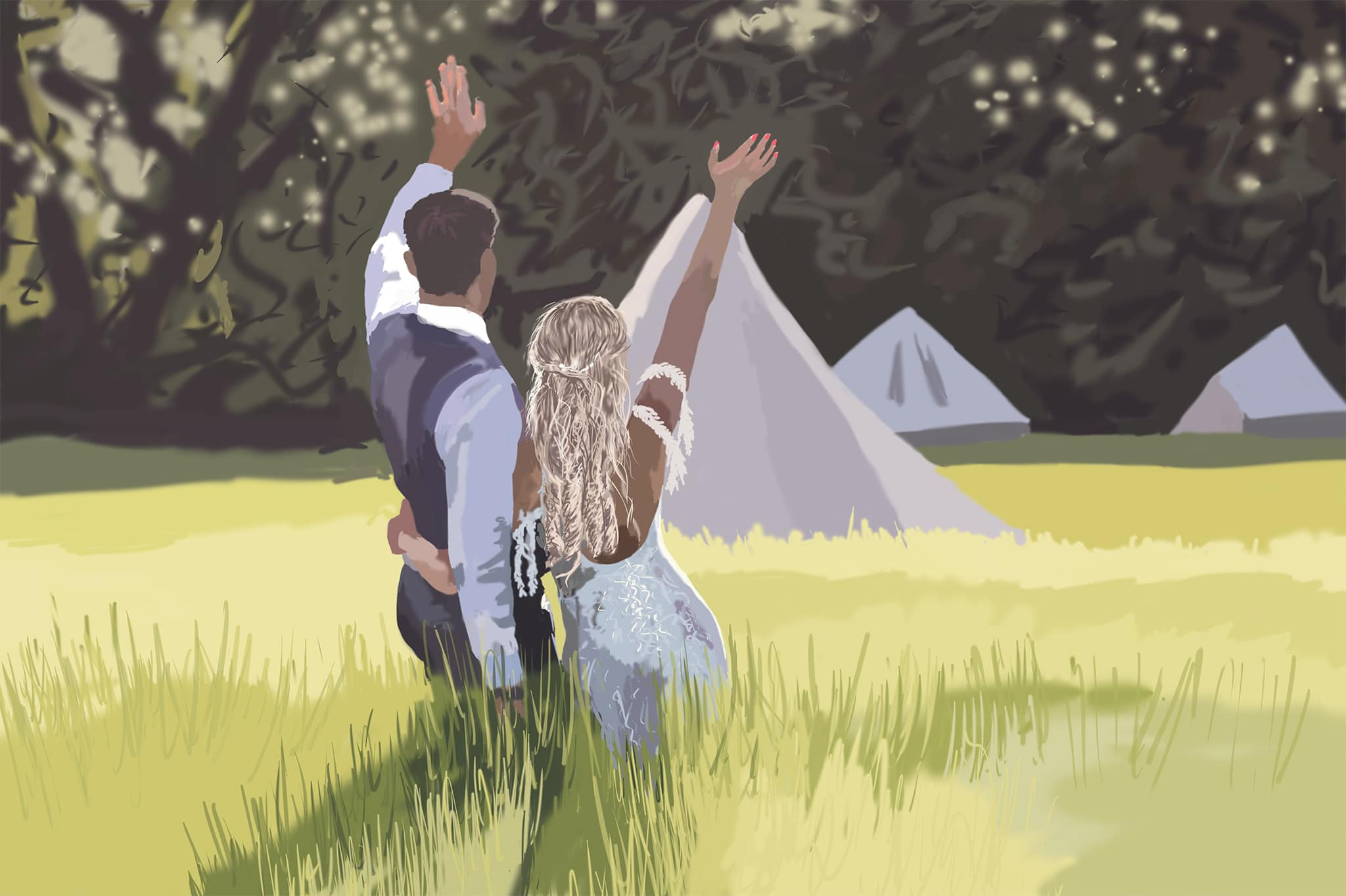 digital painting wedding couple