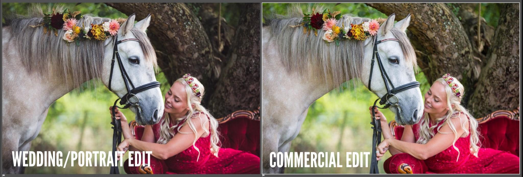 portrait versus commercial editing colour differences